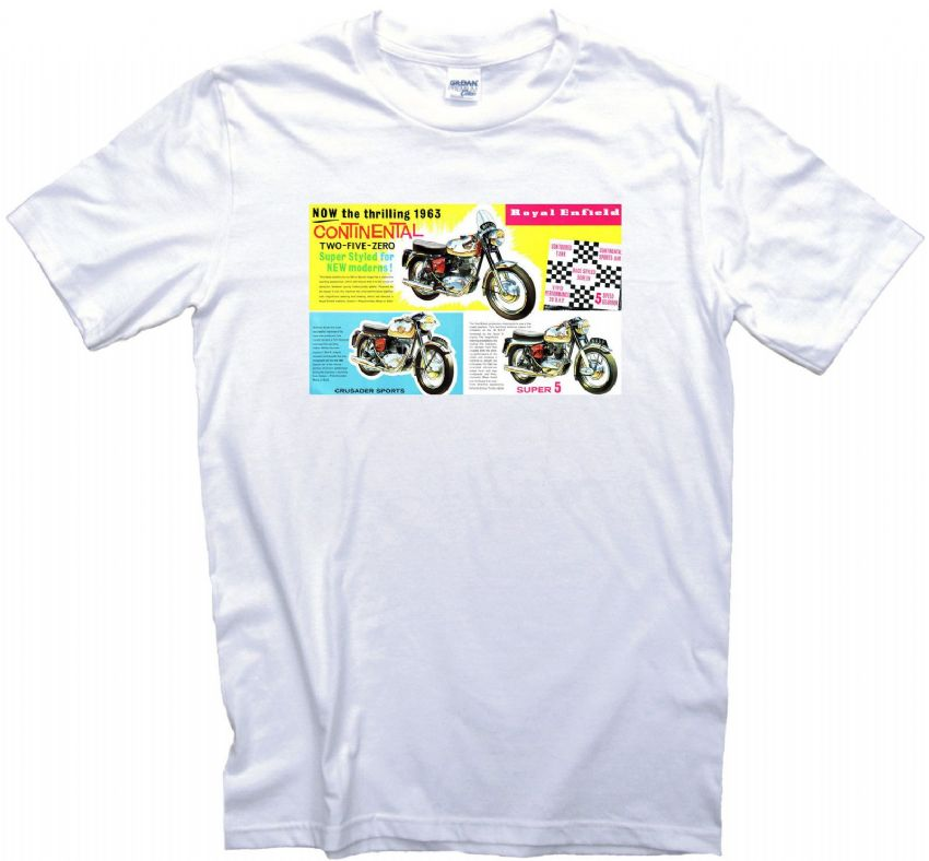 Vintage Royal Enfield T-Shirt. Gents, Ladies & Kids Sizes. Biker, Motorcycles